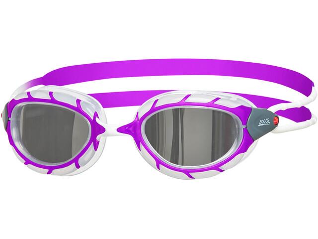 Zoggs Predator Mirror Okulary pływackie Dzieci, purple/white/mirror